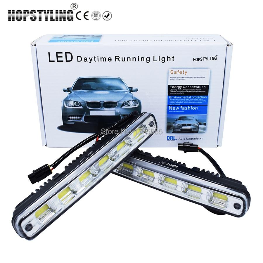 Hopstying, 2 шт., белый, универсальный, постоянный ток 12 В/24 В, COB, светодиодные дневные ходовые огни, супер автомобильная лампа ДХО, Монтажный кронштейн для автомобилей 12 Вт Е4