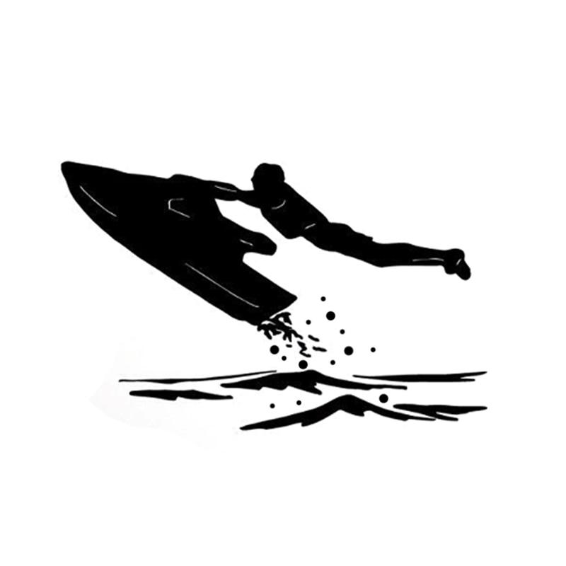 14.6CM * 9.2CM intéressant Jet extrême Ski en mer Silhouette sport décalque vinyle voiture autocollant S9-1165