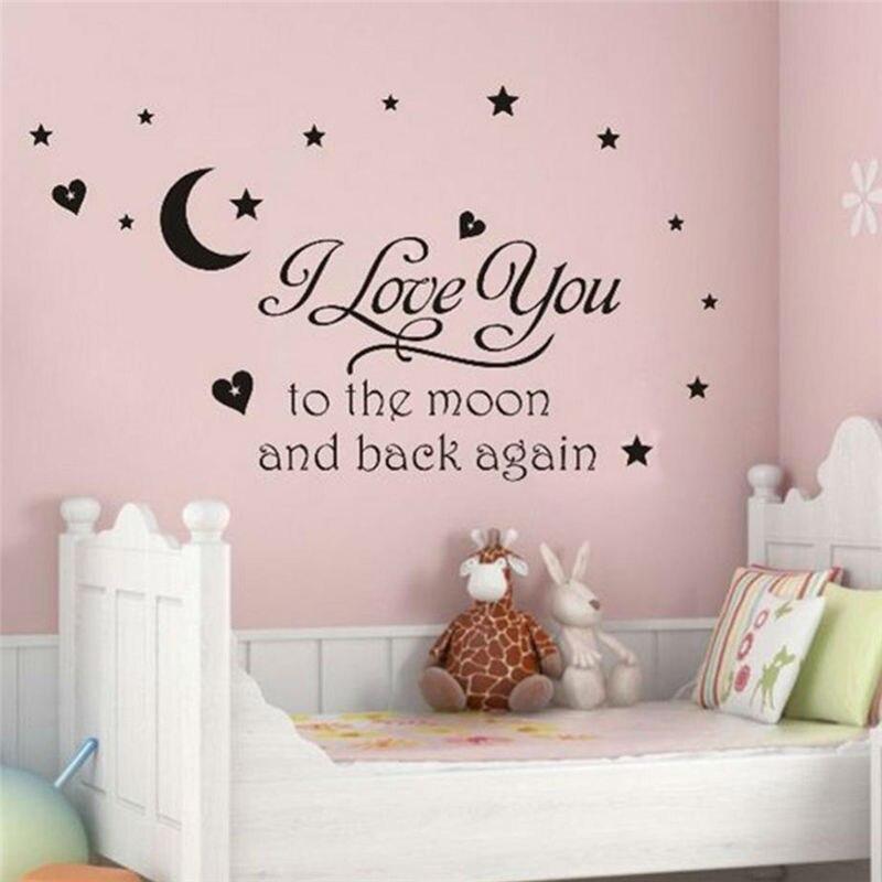 Я люблю тебя на Луну и обратно снова наклейки-цитаты на стену декоративные наклейки для девочек Съемные Виниловые Плакаты для домашнего искусства 8116.