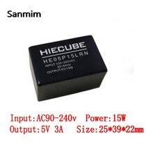 Изолированный блок питания SANMIN, 1 шт., AC110V/220V-DC5V 3A, 15 Вт, 220-5 В, черный трансформатор питания