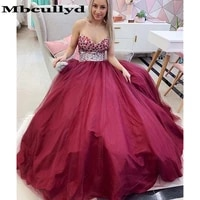 mbcully sweetheart burgundy prom dresses 2020 glitter beading crystal long formal party dress vestidos de gala long floor length