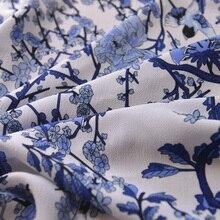 Chinese Stijl Blauw Inktvis Vogel Imitatie Linnen Chiffon Chinese Jurk Shirt Gordijn Garen Stof