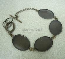 18x25mm Blank Oval Bezel Tray Stone Glass Cabochon Bases Bracelet Settings Findings Craft DIY Making Wholesale