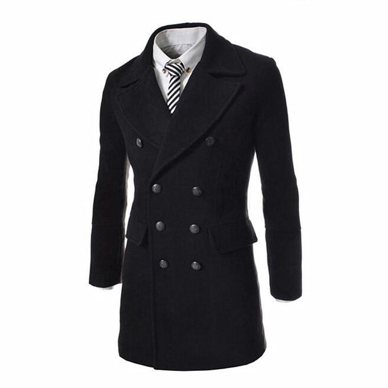 2019 High Quality Simple Classic Wool Woolen Windbreaker Men's Winter Long Solid Color Slim Double-breasted Woolen Coat