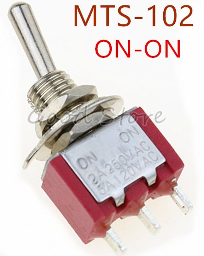 5 uds Mini MTS-102 rojo 3-Pin SPDT ON-ON 5A 120VAC interruptores de palanca en miniatura