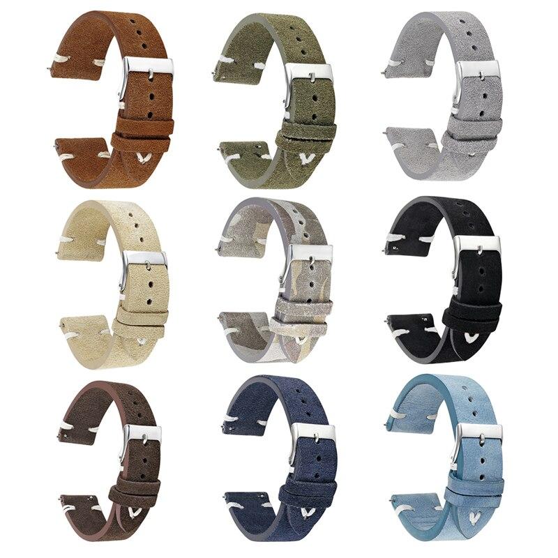 Onthelevel clásico hecho a mano correa de reloj de cuero de gamuza 18mm 20mm 22mm accesorios de reloj Correa # D