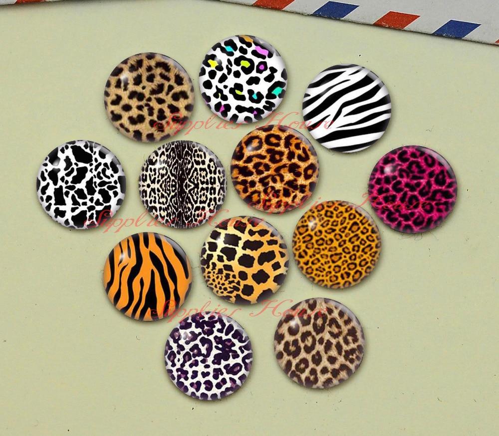 Feito à mão redondo leopardo impressão foto cabochons de vidro, jóias encontrando cameo pingente configurações, (F047-583)