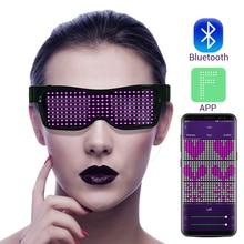 Magic Flash Led Party Glasses App Bluetooth Control Shield Luminous Glasses USB Charge DJ SunGlasses