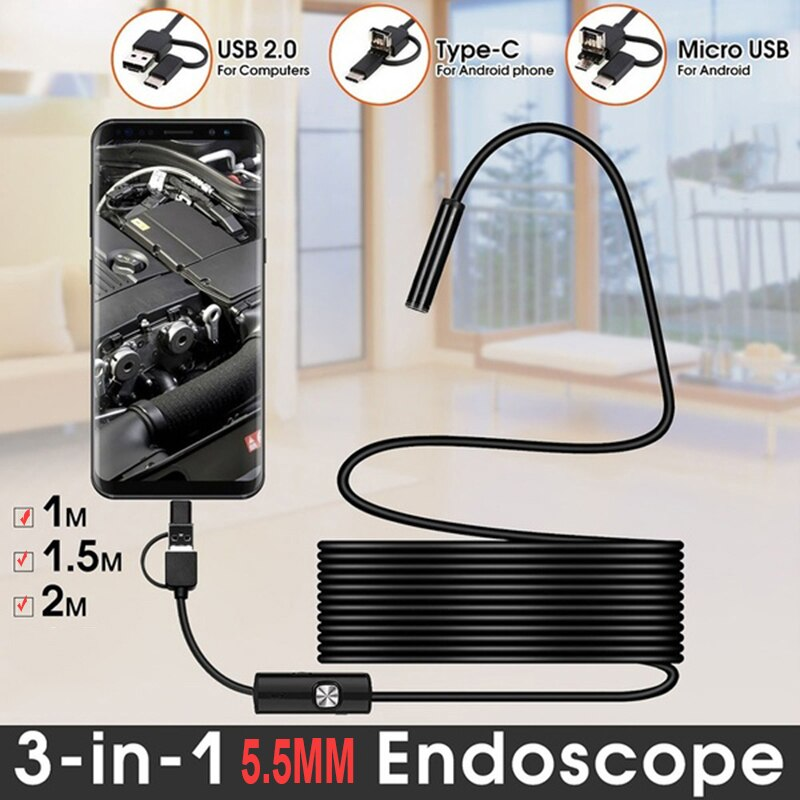 2 м 1,5 м 1 м Мини 5,5 мм объектив гибкий эндоскоп Камера жесткий полу-жесткий бороскоп камера для осмотра автомобиля для смартфона android-пк