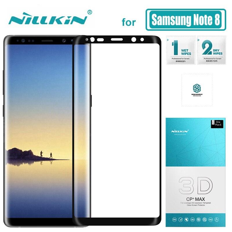 Закаленное стекло с полным покрытием для Samsung Galaxy Note 8 Nillkin 3D CP + Max, Защитная пленка для Samsung Note 8 Nilkin 9H, твердое стекло