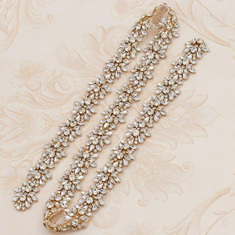 WENXI, 5 yardas, venta al por mayor, apliques de diamantes de imitación de cristal para vestido de fantasía nupcial, faja, apliques de diamantes de imitación de cristal, accesorio WX817