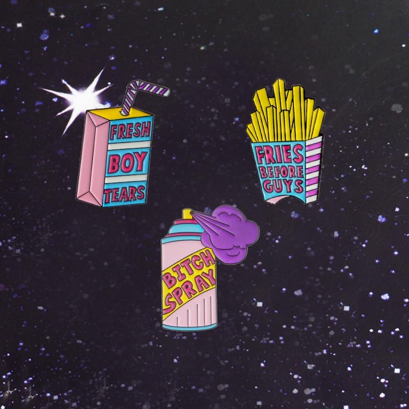 Broche de aleación con estampado de grandes patatas fritas de dibujos para niños, caja para beber con lágrimas de chico fresco, broche de Metal con espray de BITCH, insignias de Metal, camisas, solapa, Pin esmaltado