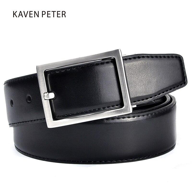 Cinturón de cuero genuino para hombre, cinturones de cuero de marca de lujo de Color marrón y negro para Jeans para hombre, cinturones de hombre clásicos para trabajo de oficina