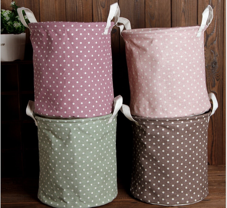 Cubo de almacenamiento de estilo Bohimian, bolsa de almacenamiento de lino de colores variados, organizador de escritorio impermeable, bolsa de ropa para lavadero plegable
