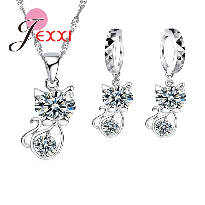 925 Sterling Silver Cubic Zirconia Wedding Jewelry Sets AAA CZ Crystal  Cute Animal Cat Necklace Earrings Women Collar beaqueen twinkling cubic zirconia stone lovely star earrings necklace cz crystal starfish women fashion party jewelry sets js119