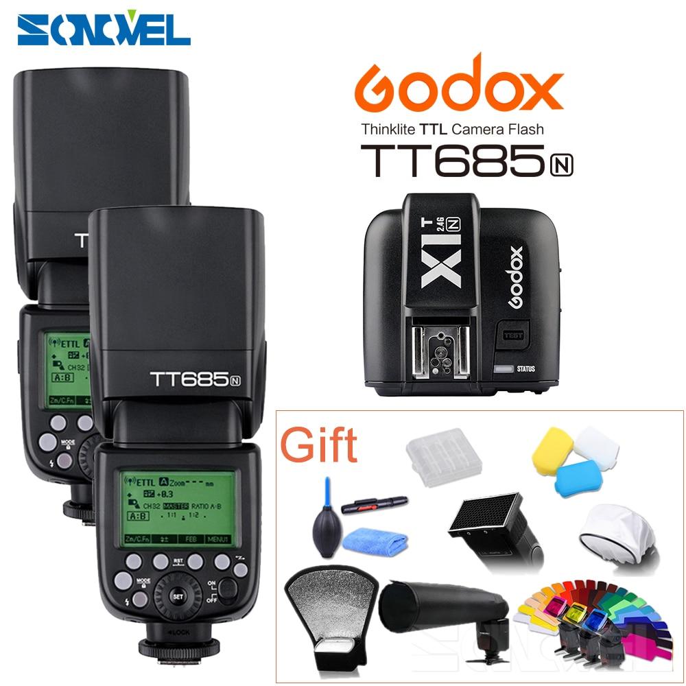 2 шт. Godox TT685N 2,4G HSS 1/8000s i-TTL GN60 Беспроводная вспышка + X1T-N TTL триггер для Nikon D800 D700 D7100 D7000 D5100 D810 D90