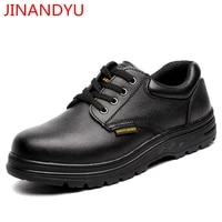 black genuine leather work shoes men steel toe safety shoes for men construction safty shoes ankle safety boots work boots