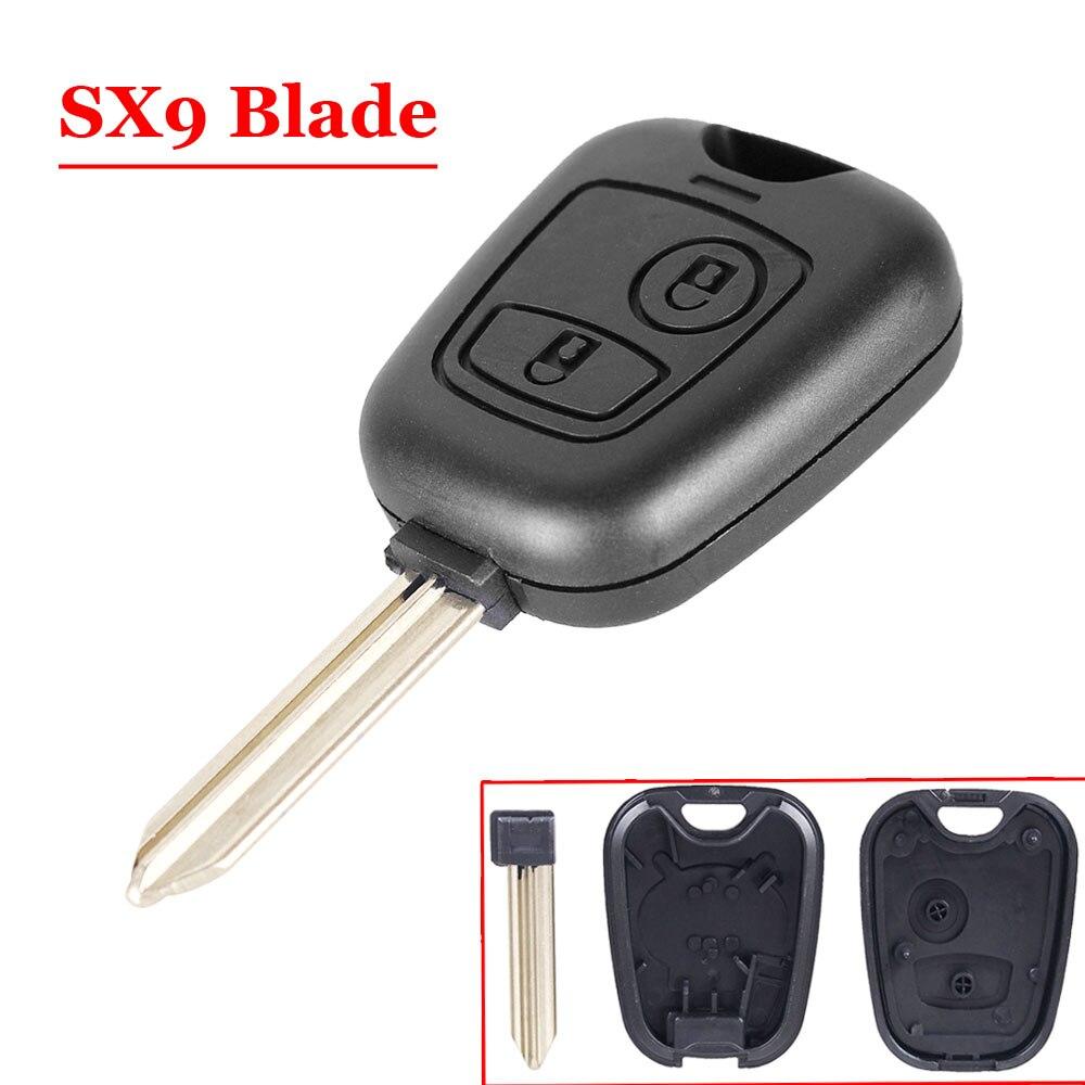 Boa qualidade (5 pçs/lote) 2 botões do Controle Remoto Chave do Caso Chave Da Aleta Para Peugeot citroen Parceiro Expert Boxer SX9 Lâmina Da Chave Do Carro Shell