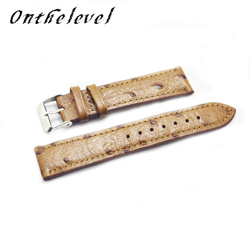 Free shipping leather ostrich pattern 18mm/20mm/22mm/24mm high quality retro universal men and women handmade strap 2018 new