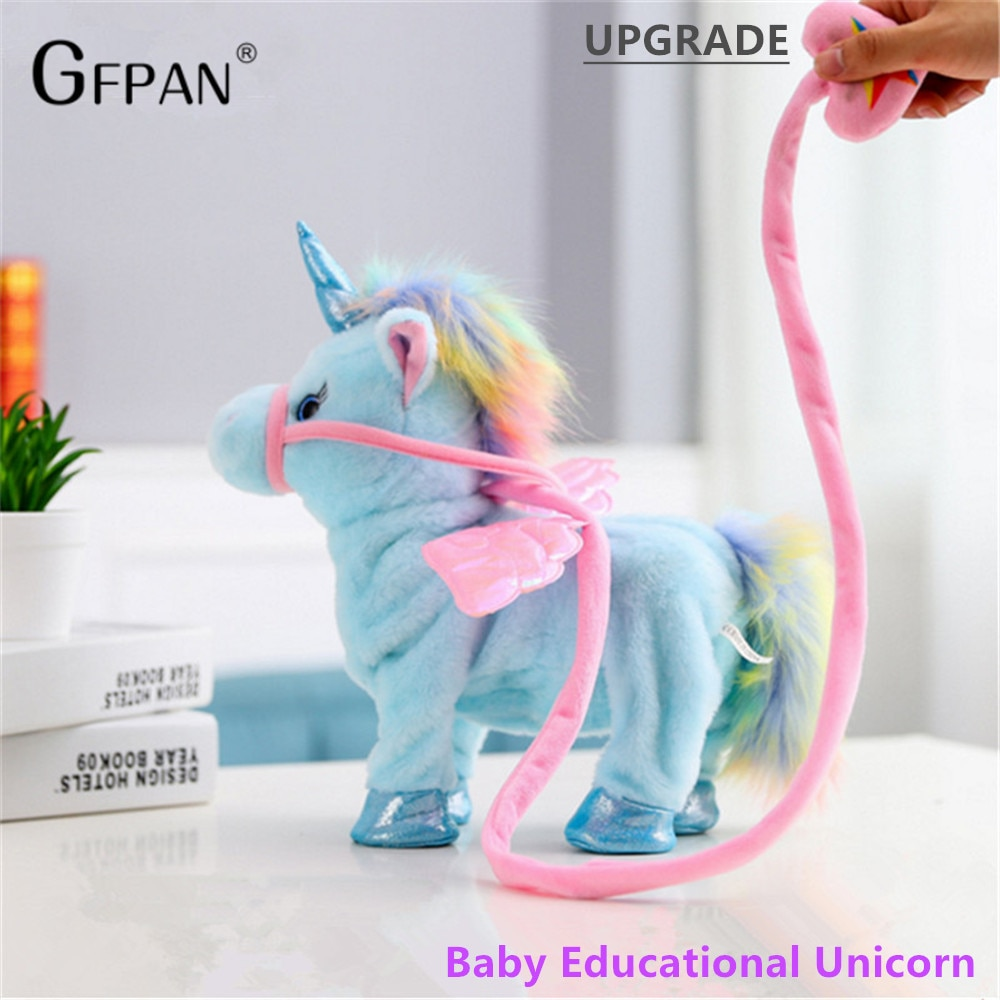 1pc 35cm Walking Unicorn Plush & Stuffed Animal Electronic Music Toys For Children Funny Christmas Gifts