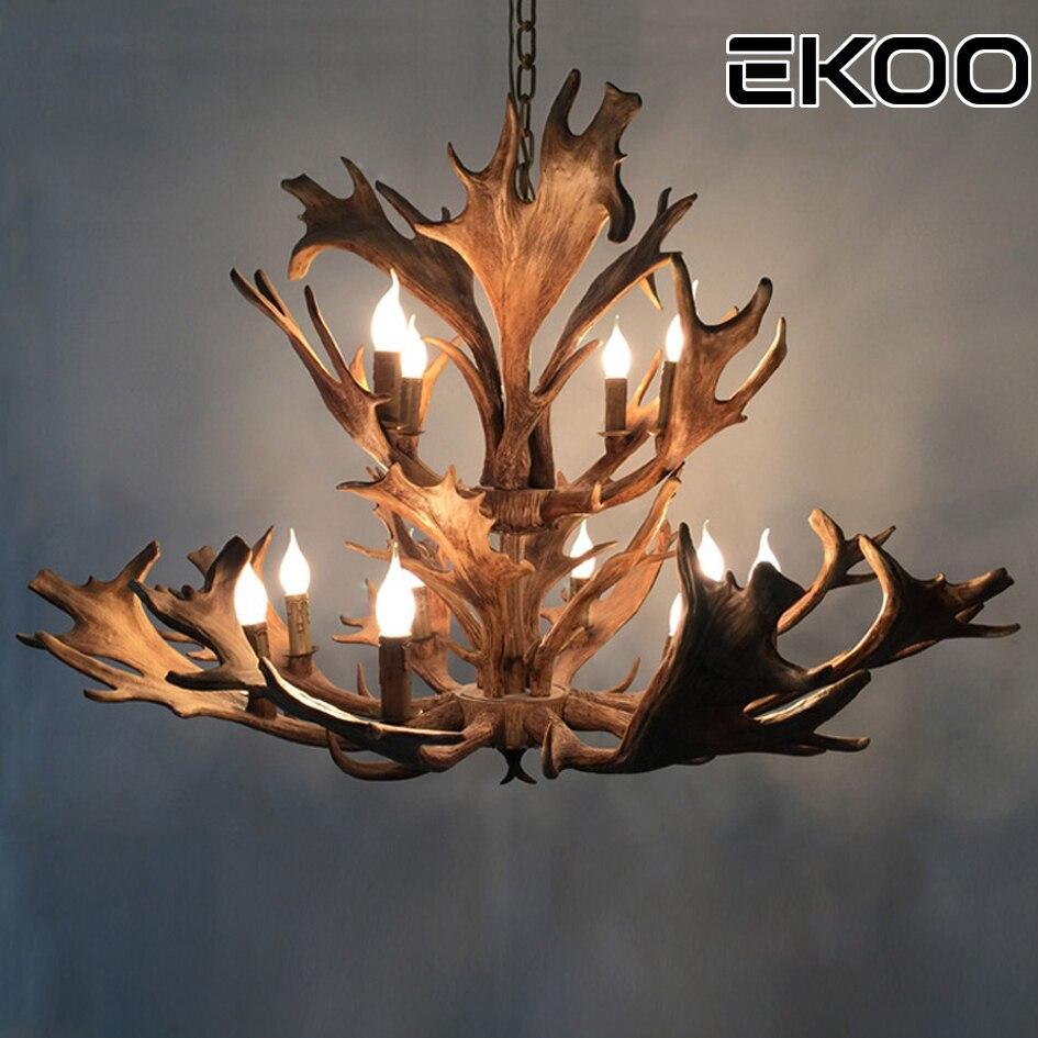EKOO E12/E14 Rustic Deer Antler Chandelier Lighting Home Cafe Bar Vintage European Industrial Style
