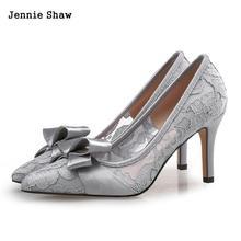 2018 New Korean High Heels Lace Butterflies Wedding Shoes Bride Shoes Women Size 44