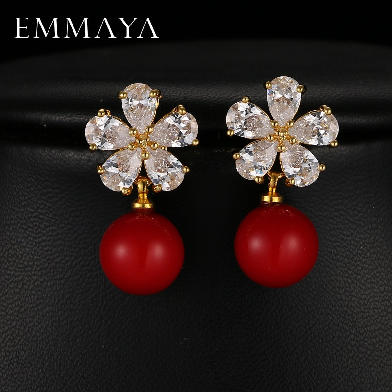 EMMAYA-pendientes grandes de Color rojo para mujer, joyas a la moda, aretes...