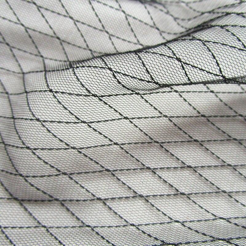 1 ud. Falda tutú negra, camisa de tela de red transparente, forro rombo, tela de malla blanca, vestido de boda, tela de malla para coser cortina
