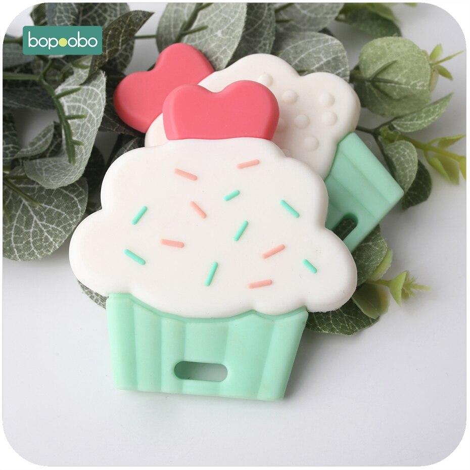 Bopoobo, 1 pieza, taza de silicona, mordedor para pastel, bonitos colgantes de silicona de grado alimenticio, accesorios Diy, juguetes de dentición para lactancia, mordedor para bebé