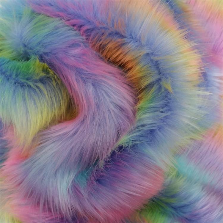 Rainbow faux pele de raposa de pelúcia brinquedo bolsa tecido pano retardador de chama roupas pilha com (4.5-6.5 cm)
