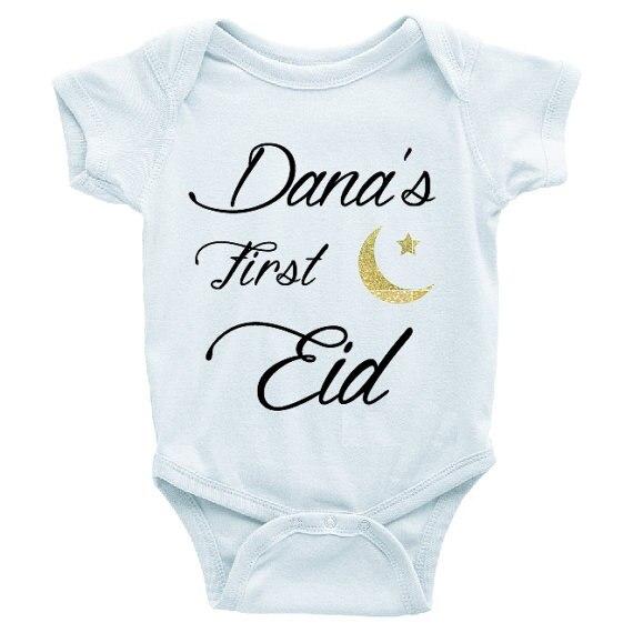 Personalizar el nombre de primer Eid Mubarak islámico cumpleaños baby shower body una pieza traje pelele Año Nuevo Fiesta favorece los regalos musulmanes