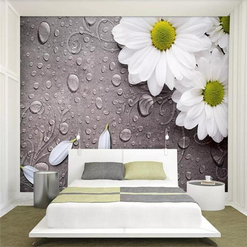 Custom wallpaper retro white water drops flower sofa living room TV background wall family art high-grade waterproof material