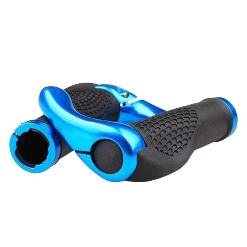 1 par de empuñaduras de manillar de bicicleta antideslizantes de diseño ergonómico a prueba de golpes con extremos de barra de aleación de aluminio, empuñaduras de cubierta de manillar de bicicleta