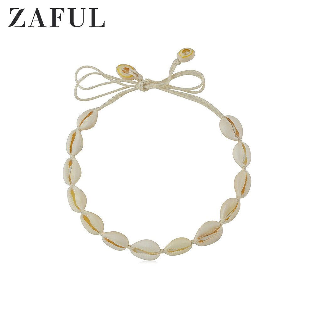 Collar de cuerda de concha de playa ZAFUL, collar de moda para mujer, gargantilla de vacaciones Holiaday, collar de cadena de concha Natural para playa Kolye 2019