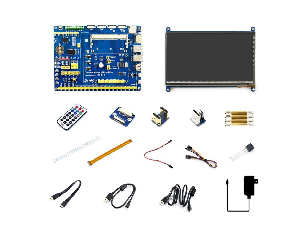 Módulo de ordenador Waveshare Raspberry Pi 3 + Paquete de accesorios tipo B, tablero CM3 + IO, HDMI LCD, DS18B20, control remoto IR
