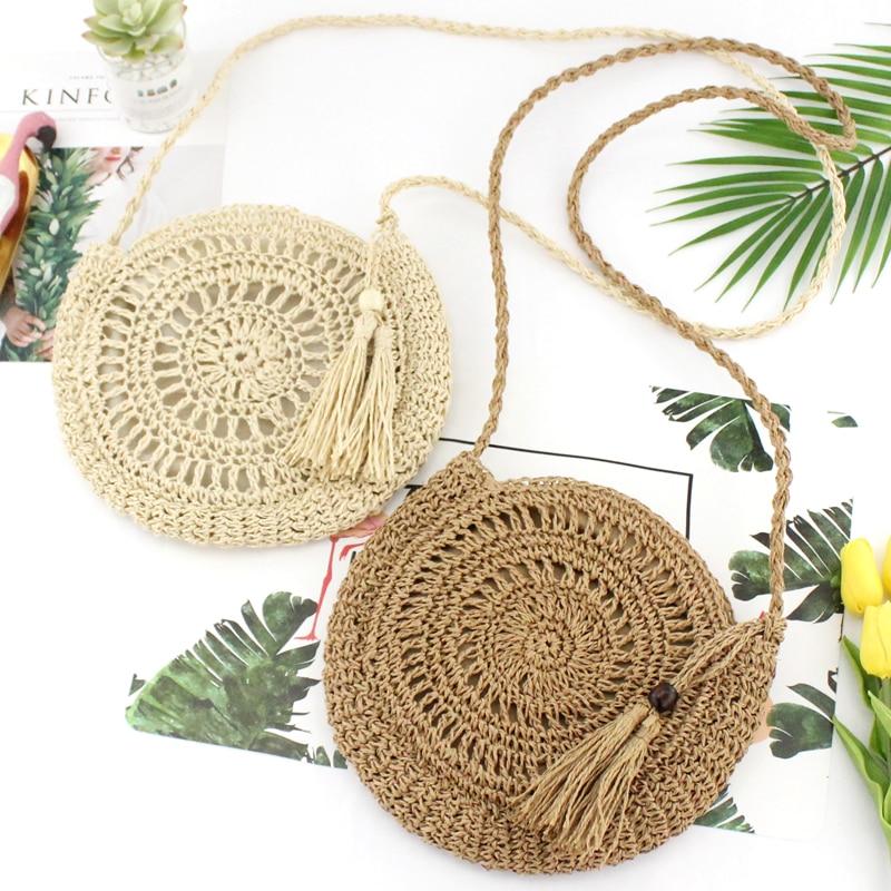 Плетеная круглая Женская Плетеная соломенная сумка из ротанга, Вязаная летняя пляжная сумка, женская сумка через плечо, сумка-мессенджер с кисточками, цвета хаки, бежевые сумки