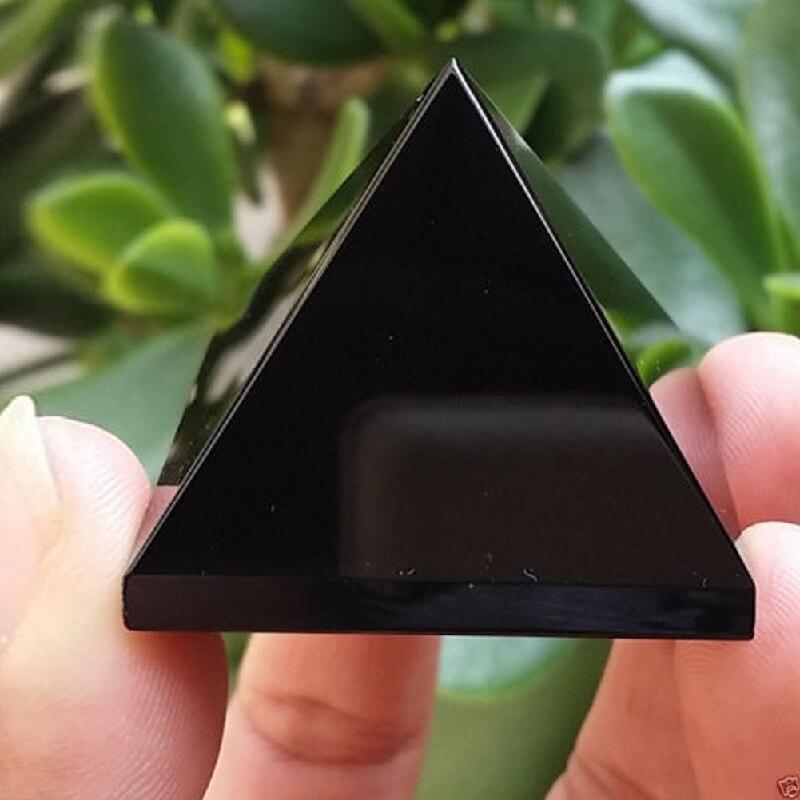 Целительная пирамида, кристаллические поделки, черный натуральный обсидиан, кварцевые кристаллы, подарок для домашнего декора, красивая блестящая поверхность, Прямая поставка 20
