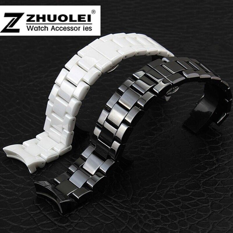 18mm 22mm pour AR1400 1403 AR1410 AR1440 AR1476 AR1401AR1404 AR1418 bracelet de montre en céramique avec boucle papillon en acier inoxydable noir