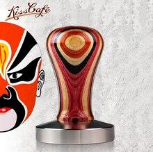 Poignée en bois couleur Chacate   Base en acier de 51/54/57/57.5/58mm, poignée en bois, marteau de poudre de café personnalisé, accessoires de café expresso