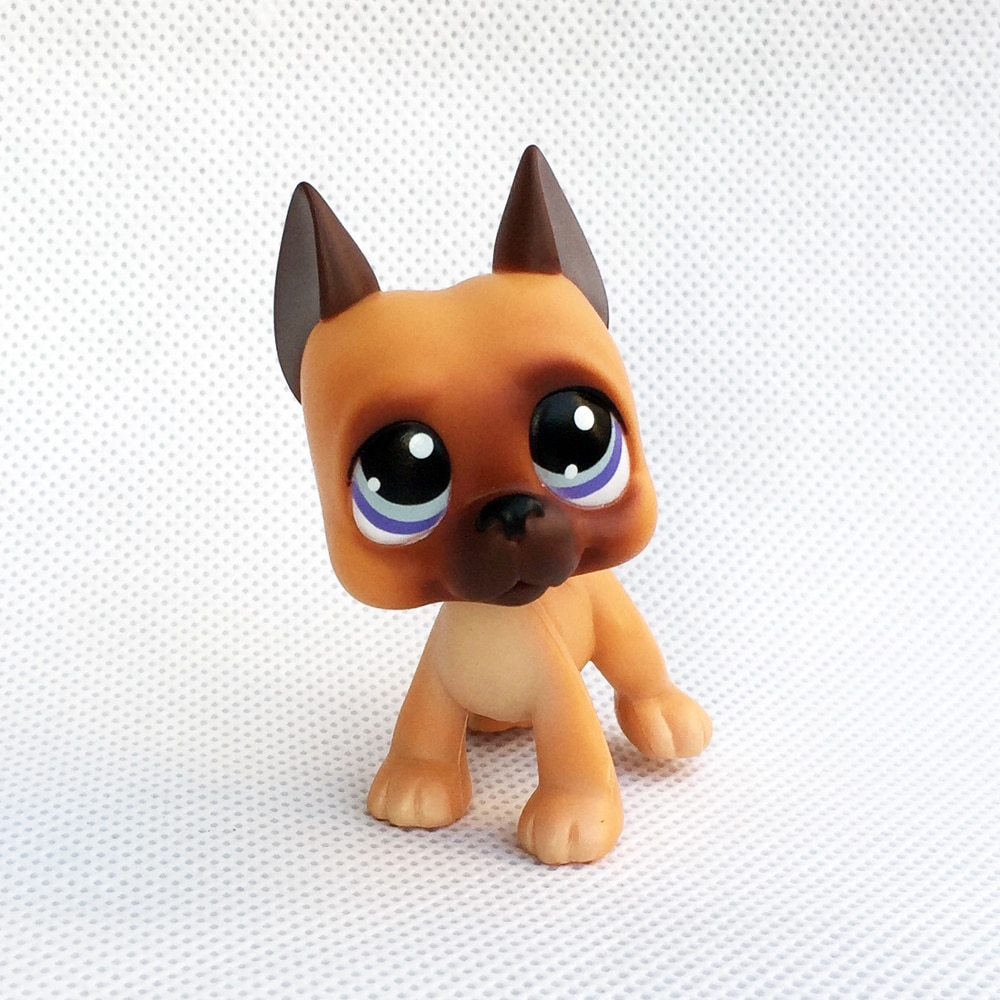 Jouets LPS chat shop, véritable figurine danimaux rare grand Dane, #244, brun clair, yeux de chien, violets, cadeau de noël pour enfants, livraison gratuite