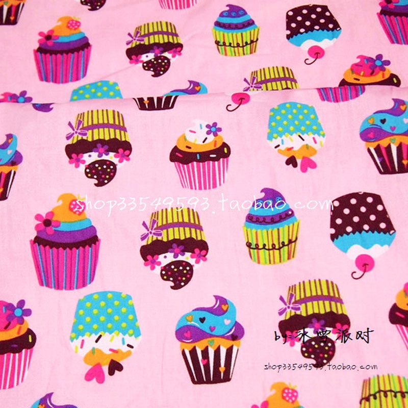 140x50 cm 1 ud. Tela para tartas 100% tela de algodón Patchwork Telas, Rosa dulce pastel impreso tela para manualidades, costura acolchado de ropa de bebé