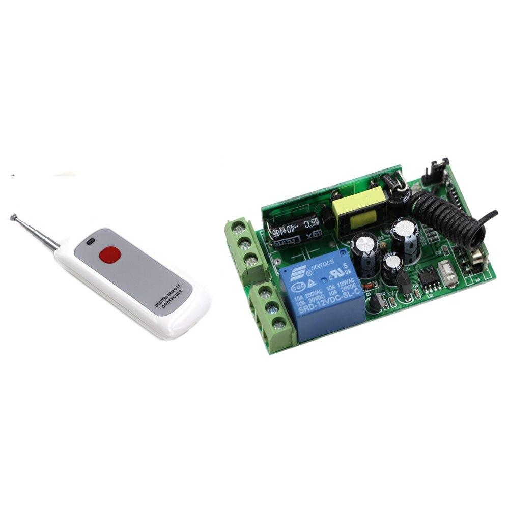 High Quality AC 85V 110V 120V 220V 250V 1 CH Remote Control Switch System Wireless Lighting Receiver With One Button Transmitter