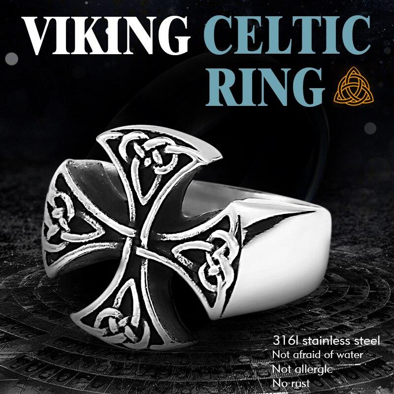 Meier 316L de acero inoxidable nariz vikingo anillo para hombre nudo C eltico amuleto con símbolos de Odín mitos joyería de moda escandinava LR620