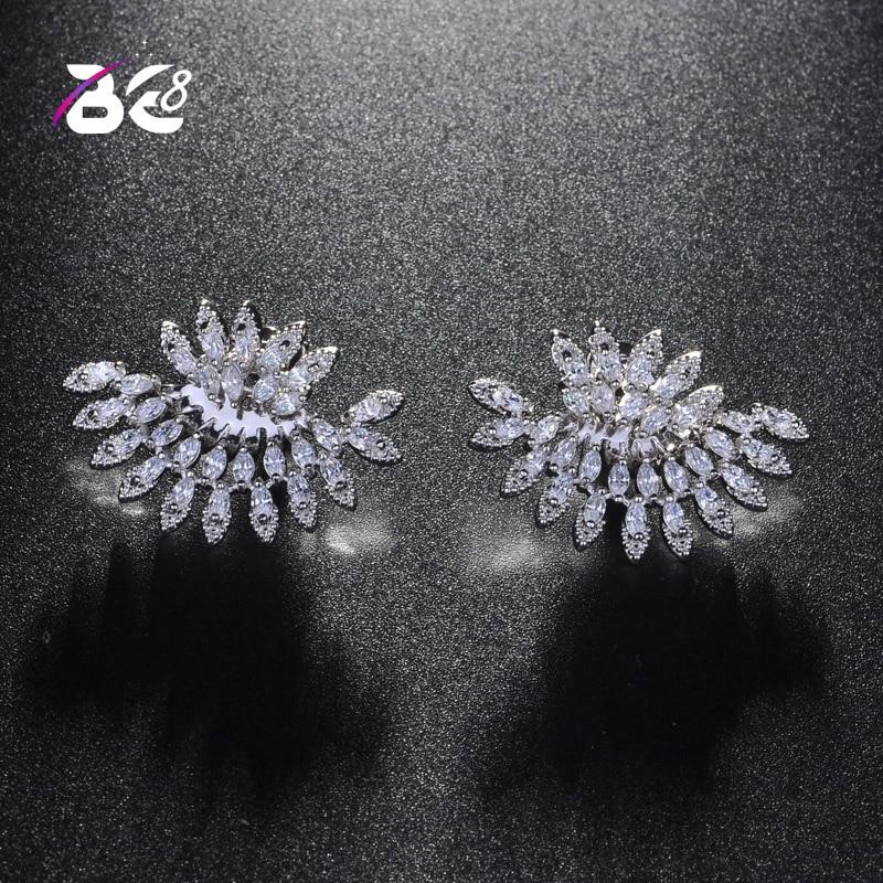 Pendientes de circonita cúbica de circonita de moda Be 8 para mujer pendientes de novia con corte de marquesina para boda para regalos de compromiso E810