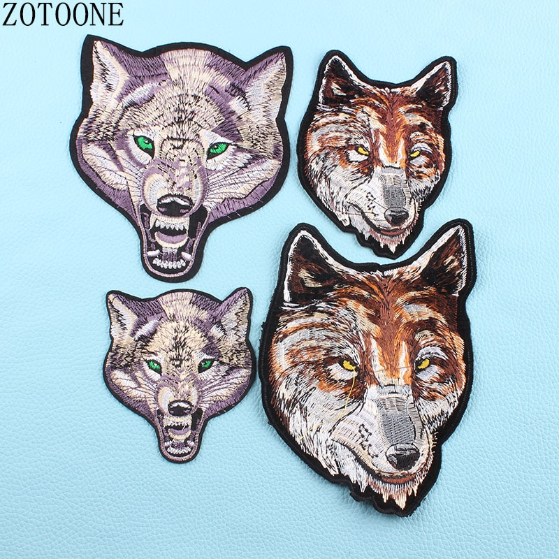 Punk Wolf Patch Skull Reversible Sequin Badge Iron On Embroidered Motorcycle Patches For Clothes Stickers Diy Appliques Heart