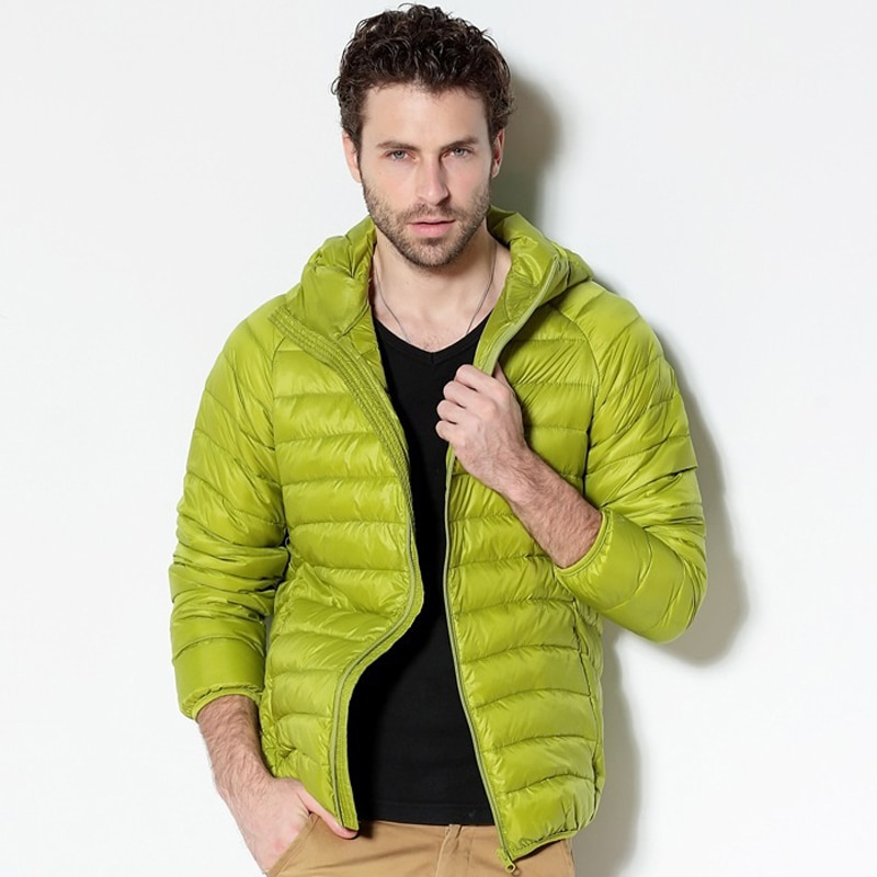 Men White Duck Down Jacket 2020 New Portable Hooded Down Coat Ultralight Men Winter Coat Warm Thermal Down Parkas