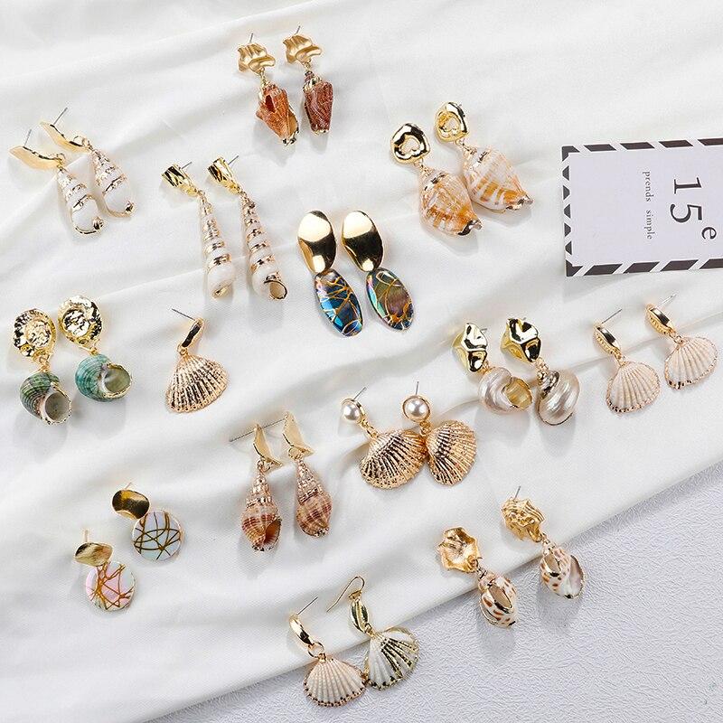 AENSOA hecho corea Irregular Real Shell concha pendientes Bohemia geométrica Natural pendientes para las mujeres de moda de joyería