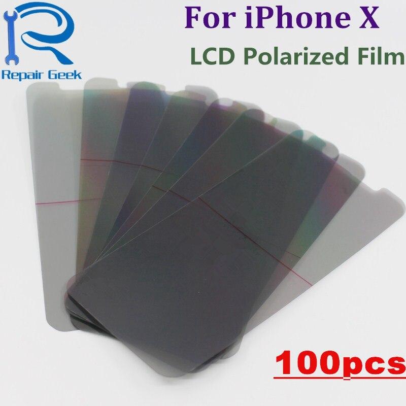 100 unids/lote polarización del polarizador del LCD para el iPhone X filtro del LCD polarización Polaroider de IX IPX repuesto