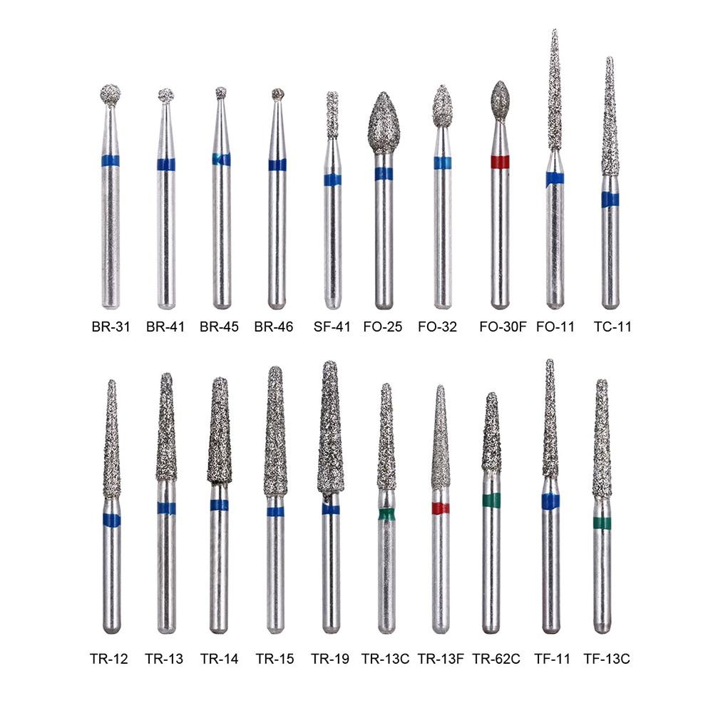 100pcs/20Boxes Dental Diamond Burs Drill Dental Burs Dia-burs for High Speed Handpiecess Medium FG 1.6M Dentist
