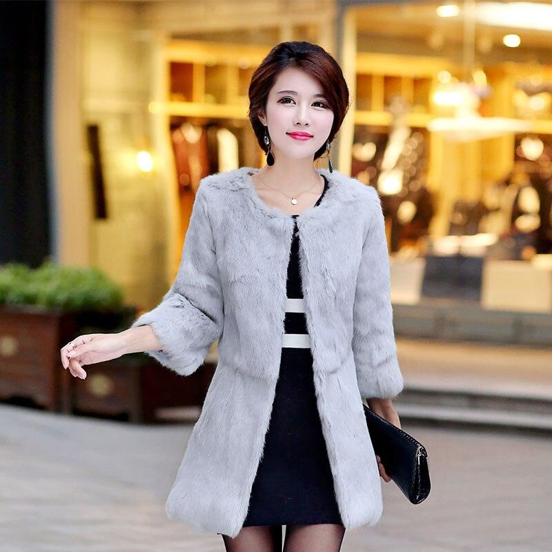 Женская длинная куртка на кроличьем меху, зимняя длинная куртка в Корейском стиле, 2019